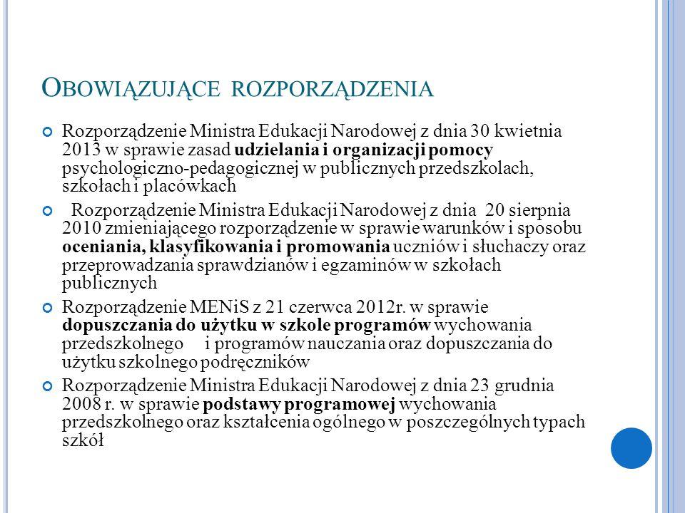 O BOWIĄZUJĄCE ROZPORZĄDZENIA Rozporządzenie Ministra Edukacji Narodowej z dnia 30 kwietnia 2013 w sprawie zasad udzielania i organizacji pomocy psycho