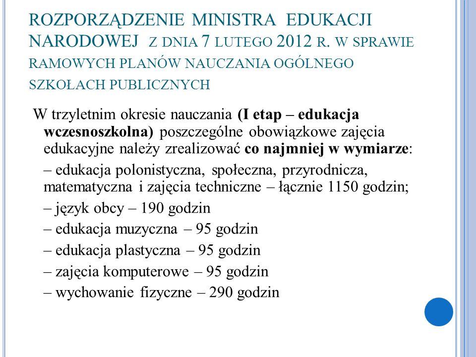 ROZPORZĄDZENIE MINISTRA EDUKACJI NARODOWEJ Z DNIA 7 LUTEGO 2012 R. W SPRAWIE RAMOWYCH PLANÓW NAUCZANIA OGÓLNEGO SZKOŁACH PUBLICZNYCH W trzyletnim okre