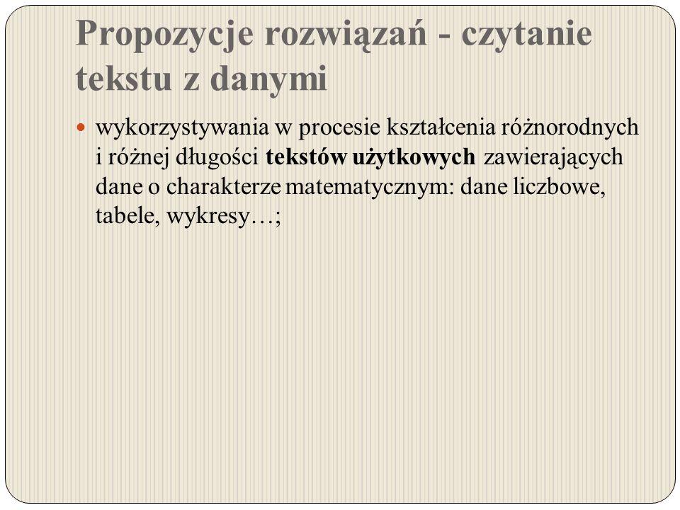 Propozycje rozwiązań - czytanie tekstu z danymi wykorzystywania w procesie kształcenia różnorodnych i różnej długości tekstów użytkowych zawierających