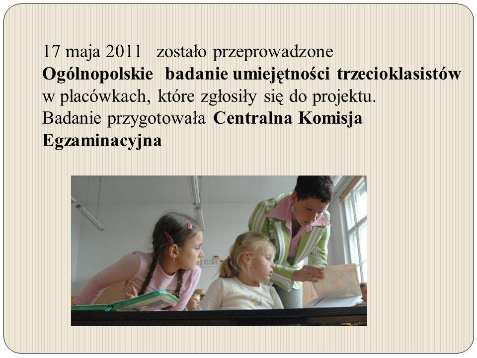 17 maja 2011 zostało przeprowadzone Ogólnopolskie badanie umiejętności trzecioklasistów w placówkach, które zgłosiły się do projektu.