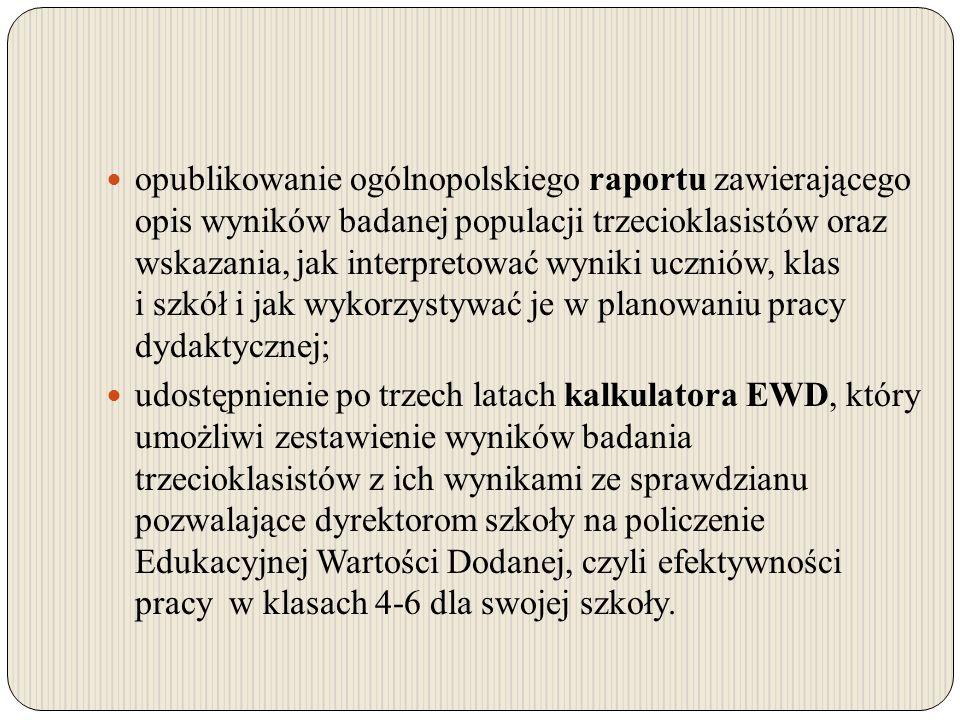 opublikowanie ogólnopolskiego raportu zawierającego opis wyników badanej populacji trzecioklasistów oraz wskazania, jak interpretować wyniki uczniów,