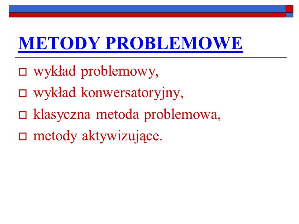 METODY PROBLEMOWE wykład problemowy, wykład konwersatoryjny, klasyczna metoda problemowa, metody aktywizujące.