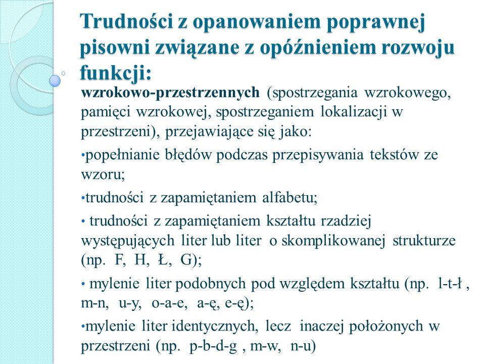 Trudności z opanowaniem poprawnej pisowni związane z opóźnieniem rozwoju funkcji: wzrokowo-przestrzennych (spostrzegania wzrokowego, pamięci wzrokowej