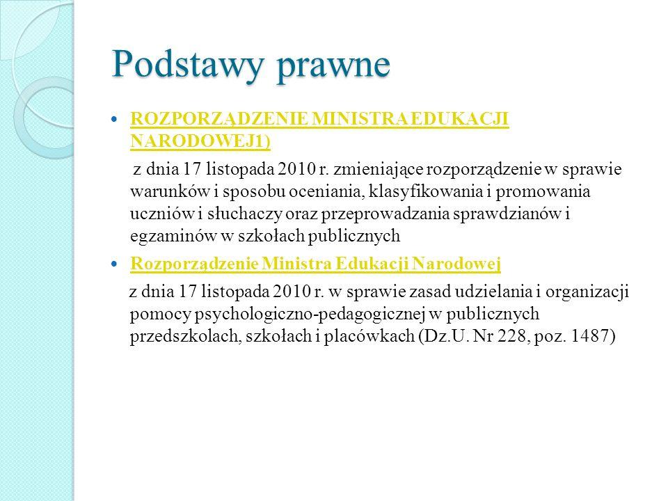 Podstawy prawne ROZPORZĄDZENIE MINISTRA EDUKACJI NARODOWEJ1) ROZPORZĄDZENIE MINISTRA EDUKACJI NARODOWEJ1) z dnia 17 listopada 2010 r. zmieniające rozp