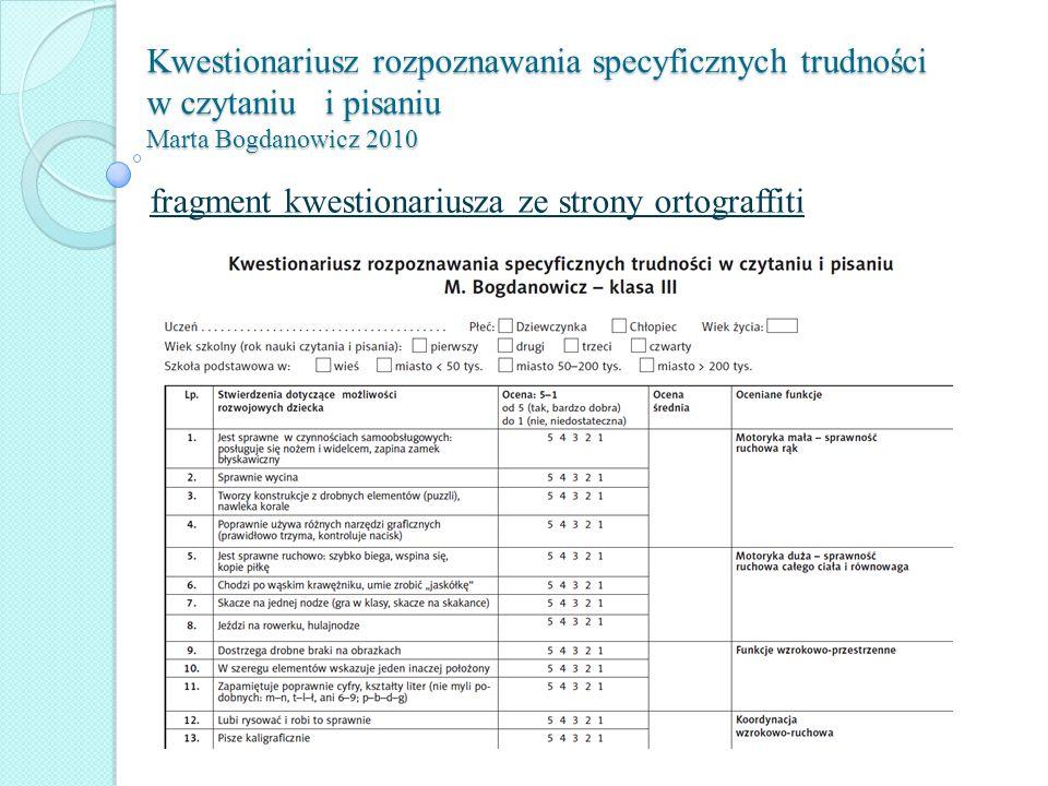 Kwestionariusz rozpoznawania specyficznych trudności w czytaniu i pisaniu Marta Bogdanowicz 2010 fragment kwestionariusza ze strony ortograffiti
