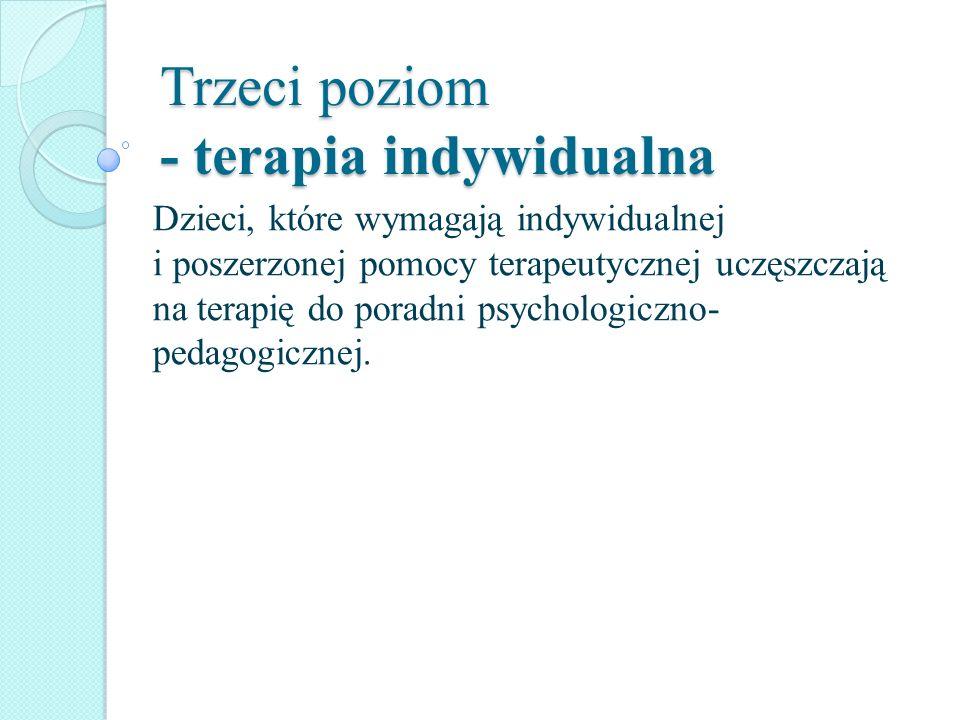 Trzeci poziom - terapia indywidualna Dzieci, które wymagają indywidualnej i poszerzonej pomocy terapeutycznej uczęszczają na terapię do poradni psycho