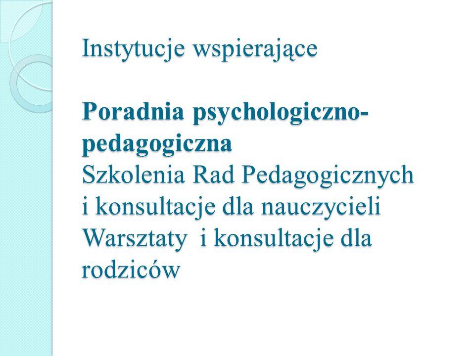 Instytucje wspierające Poradnia psychologiczno- pedagogiczna Szkolenia Rad Pedagogicznych i konsultacje dla nauczycieli Warsztaty i konsultacje dla ro