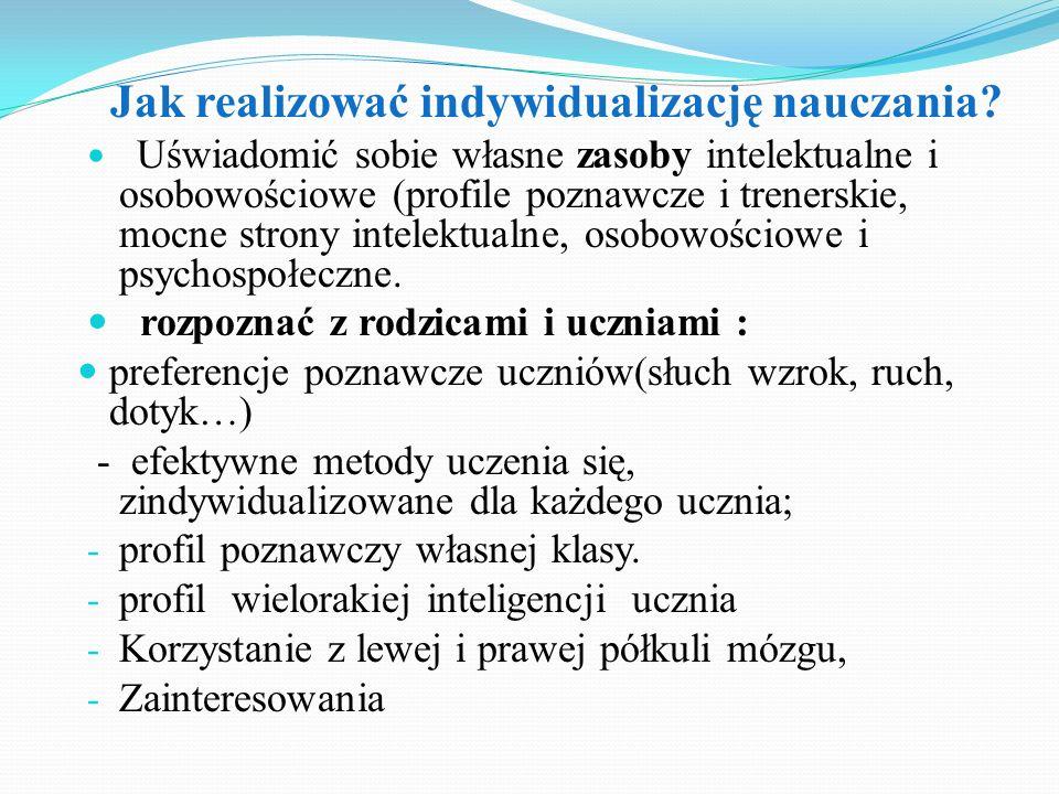 Uświadomić sobie własne zasoby intelektualne i osobowościowe (profile poznawcze i trenerskie, mocne strony intelektualne, osobowościowe i psychospołec