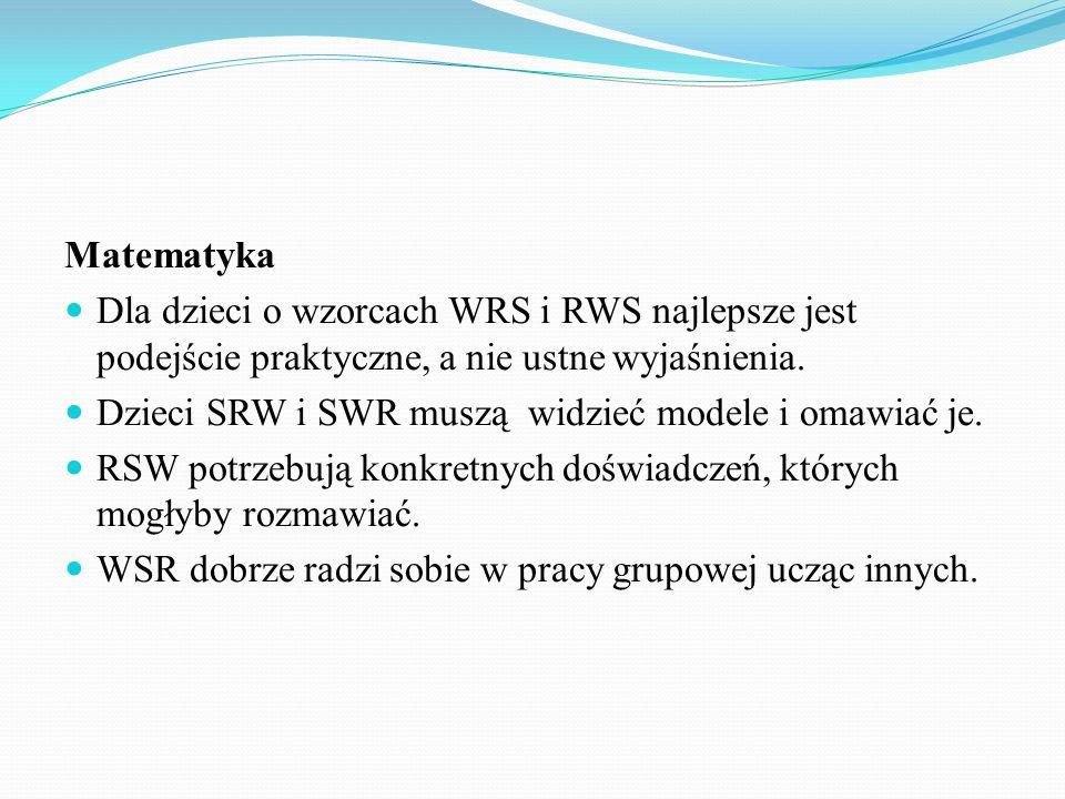 Matematyka Dla dzieci o wzorcach WRS i RWS najlepsze jest podejście praktyczne, a nie ustne wyjaśnienia. Dzieci SRW i SWR muszą widzieć modele i omawi