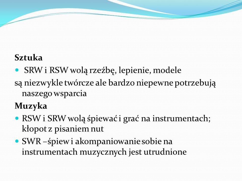 Sztuka SRW i RSW wolą rzeźbę, lepienie, modele są niezwykle twórcze ale bardzo niepewne potrzebują naszego wsparcia Muzyka RSW i SRW wolą śpiewać i gr
