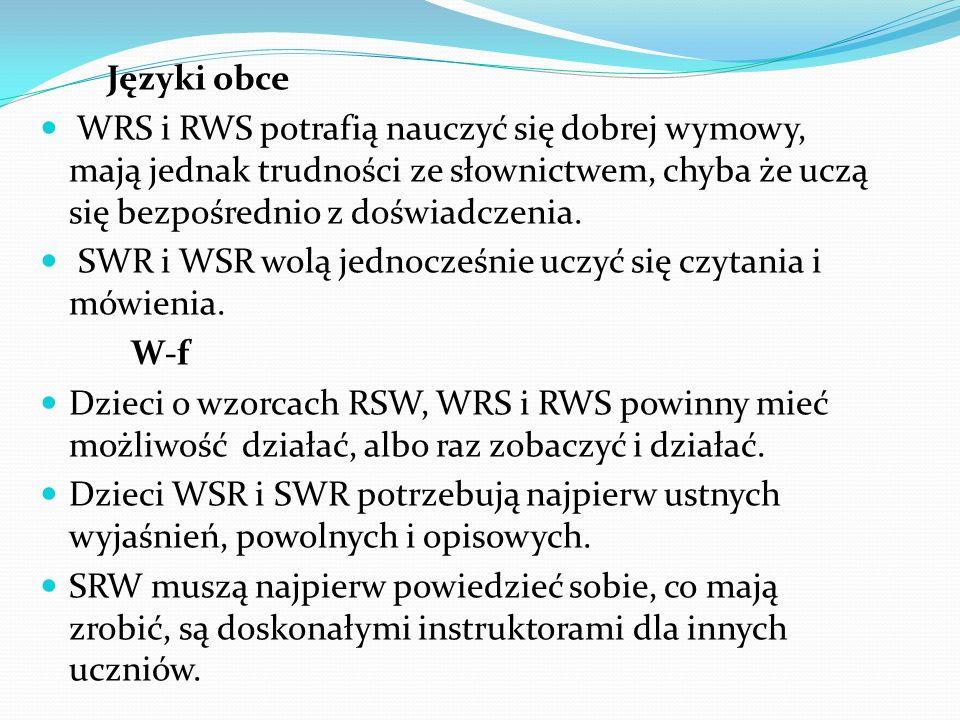 Języki obce WRS i RWS potrafią nauczyć się dobrej wymowy, mają jednak trudności ze słownictwem, chyba że uczą się bezpośrednio z doświadczenia. SWR i