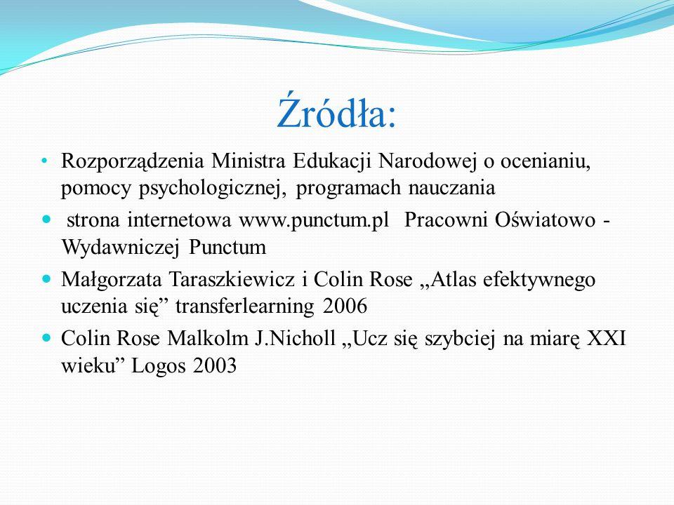 Źródła: Rozporządzenia Ministra Edukacji Narodowej o ocenianiu, pomocy psychologicznej, programach nauczania strona internetowa www.punctum.pl Pracown