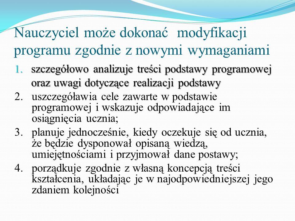 Nauczyciel może dokonać modyfikacji programu zgodnie z nowymi wymaganiami 1. szczegółowo analizuje treści podstawy programowej oraz uwagi dotyczące re