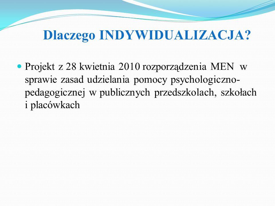 Dlaczego INDYWIDUALIZACJA? Projekt z 28 kwietnia 2010 rozporządzenia MEN w sprawie zasad udzielania pomocy psychologiczno- pedagogicznej w publicznych
