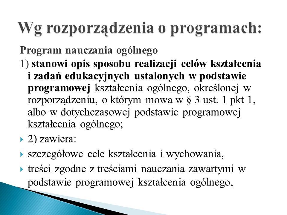 Program nauczania ogólnego 1) stanowi opis sposobu realizacji celów kształcenia i zadań edukacyjnych ustalonych w podstawie programowej kształcenia og