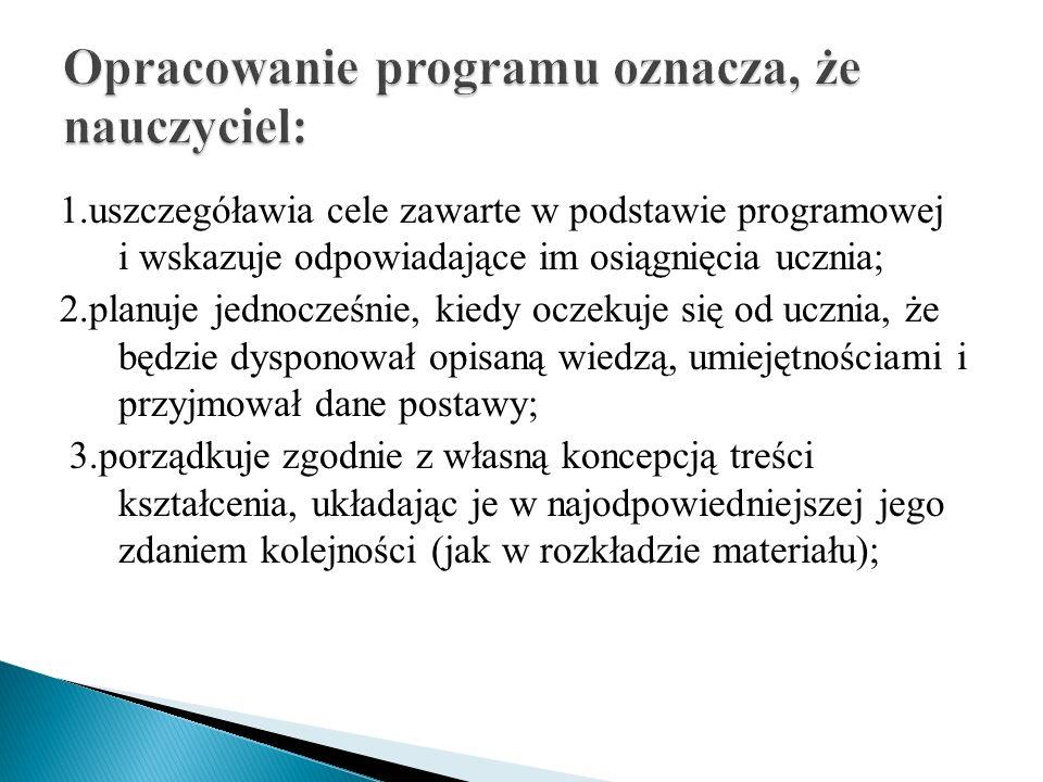 1.uszczegóławia cele zawarte w podstawie programowej i wskazuje odpowiadające im osiągnięcia ucznia; 2.planuje jednocześnie, kiedy oczekuje się od ucz
