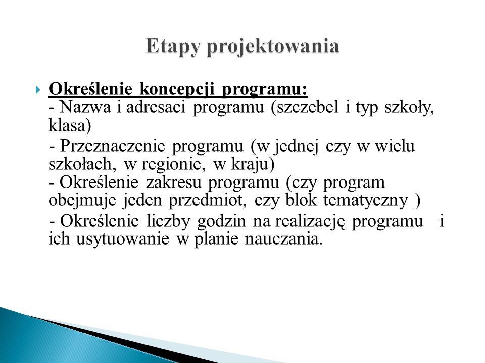 Określenie koncepcji programu: - Nazwa i adresaci programu (szczebel i typ szkoły, klasa) - Przeznaczenie programu (w jednej czy w wielu szkołach, w r