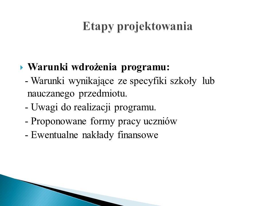 Warunki wdrożenia programu: - Warunki wynikające ze specyfiki szkoły lub nauczanego przedmiotu. - Uwagi do realizacji programu. - Proponowane formy pr