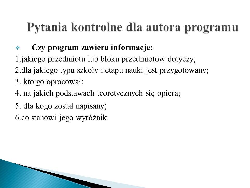 Czy program zawiera informacje: 1.jakiego przedmiotu lub bloku przedmiotów dotyczy; 2.dla jakiego typu szkoły i etapu nauki jest przygotowany; 3. kto