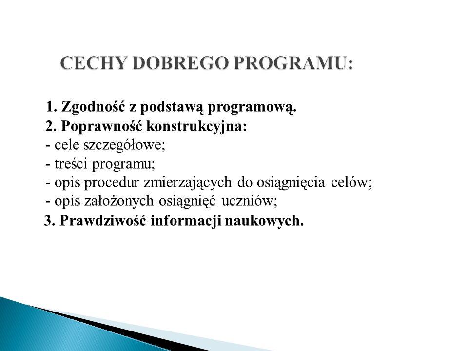 1. Zgodność z podstawą programową. 2. Poprawność konstrukcyjna: - cele szczegółowe; - treści programu; - opis procedur zmierzających do osiągnięcia ce
