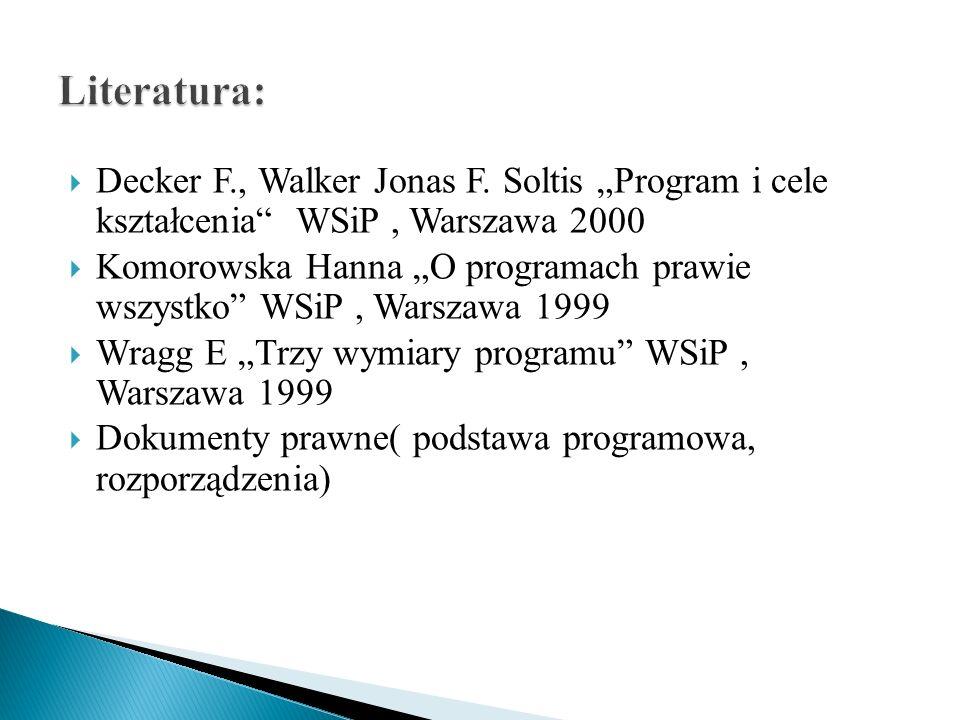Decker F., Walker Jonas F. Soltis Program i cele kształcenia WSiP, Warszawa 2000 Komorowska Hanna O programach prawie wszystko WSiP, Warszawa 1999 Wra