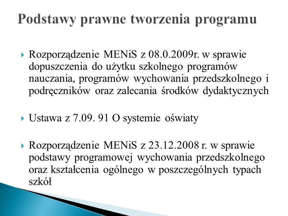 Rozporządzenie MENiS z 08.0.2009r. w sprawie dopuszczenia do użytku szkolnego programów nauczania, programów wychowania przedszkolnego i podręczników