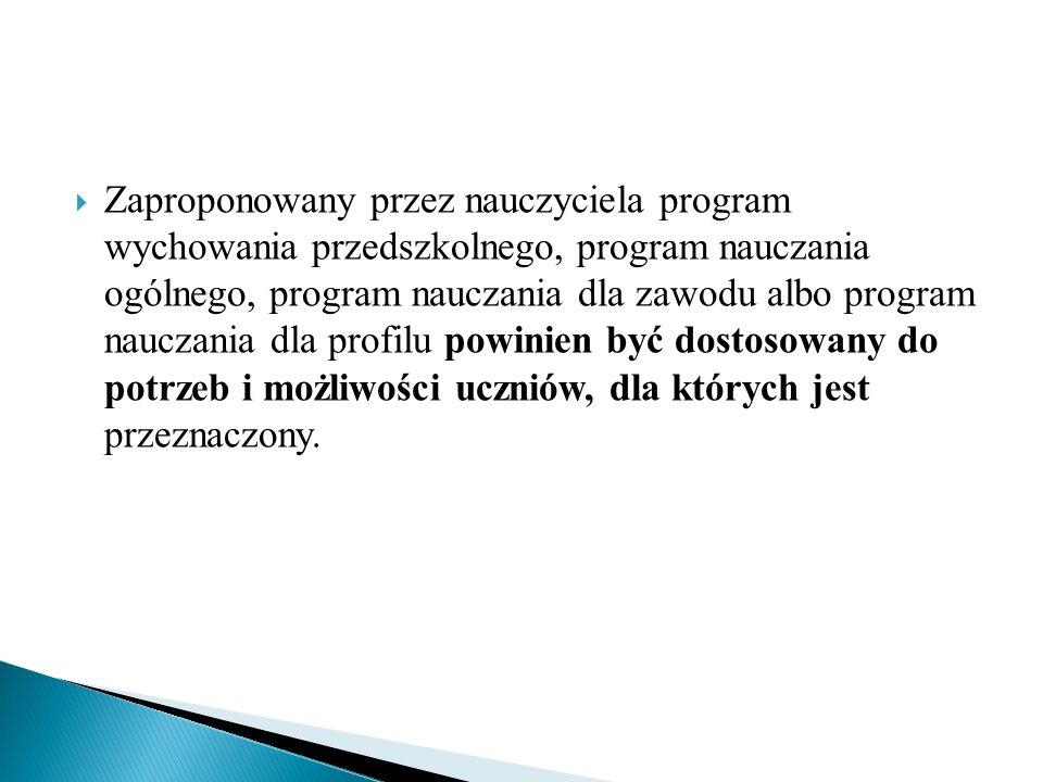 Czy dokument programowy zawiera przykładowe scenariusze zająć.