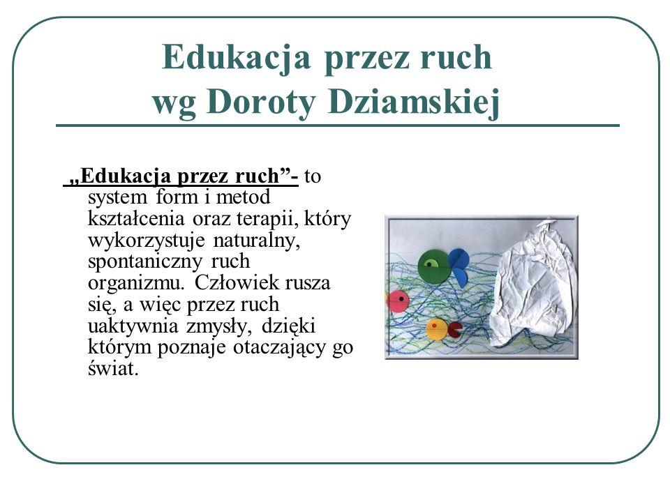 Edukacja przez ruch wg Doroty Dziamskiej Edukacja przez ruch- to system form i metod kształcenia oraz terapii, który wykorzystuje naturalny, spontanic