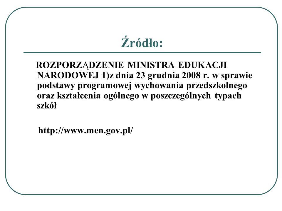 Źródło: ROZPORZĄDZENIE MINISTRA EDUKACJI NARODOWEJ 1)z dnia 23 grudnia 2008 r. w sprawie podstawy programowej wychowania przedszkolnego oraz kształcen