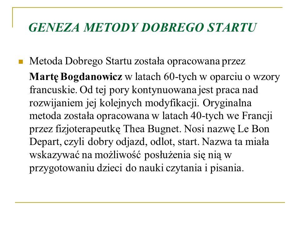 GENEZA METODY DOBREGO STARTU Metoda Dobrego Startu została opracowana przez Martę Bogdanowicz w latach 60-tych w oparciu o wzory francuskie.