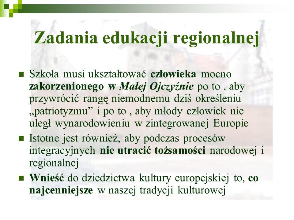 Zadania edukacji regionalnej Szkoła musi ukształtować człowieka mocno zakorzenionego w Małej Ojczyźnie po to, aby przywrócić rangę niemodnemu dziś określeniu patriotyzmu i po to, aby młody człowiek nie uległ wynarodowieniu w zintegrowanej Europie Istotne jest również, aby podczas procesów integracyjnych nie utracić tożsamości narodowej i regionalnej Wnieść do dziedzictwa kultury europejskiej to, co najcenniejsze w naszej tradycji kulturowej