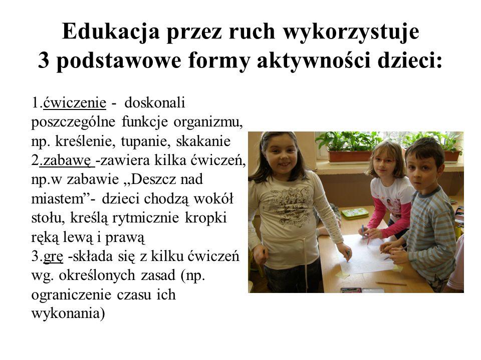 Edukacja przez ruch wykorzystuje 3 podstawowe formy aktywności dzieci: 1.ćwiczenie - doskonali poszczególne funkcje organizmu, np. kreślenie, tupanie,