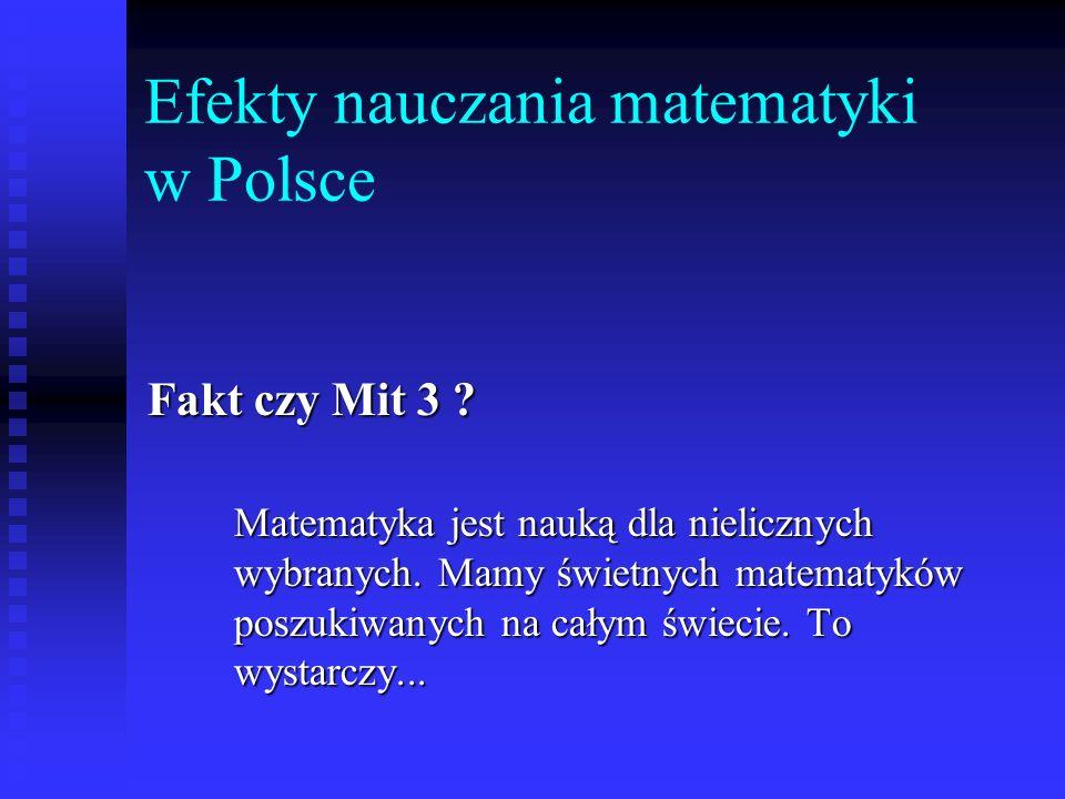 Efekty nauczania matematyki w Polsce Fakt czy Mit 3 ? Matematyka jest nauką dla nielicznych wybranych. Mamy świetnych matematyków poszukiwanych na cał