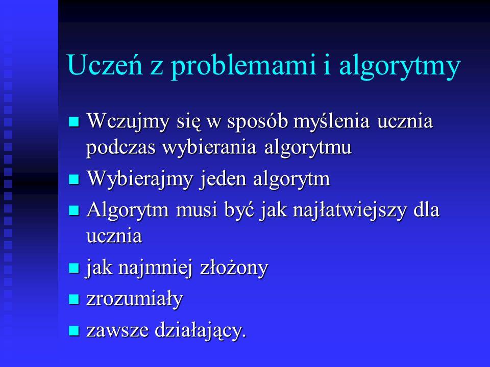 Uczeń z problemami i algorytmy Wczujmy się w sposób myślenia ucznia podczas wybierania algorytmu Wczujmy się w sposób myślenia ucznia podczas wybierania algorytmu Wybierajmy jeden algorytm Wybierajmy jeden algorytm Algorytm musi być jak najłatwiejszy dla ucznia Algorytm musi być jak najłatwiejszy dla ucznia jak najmniej złożony jak najmniej złożony zrozumiały zrozumiały zawsze działający.