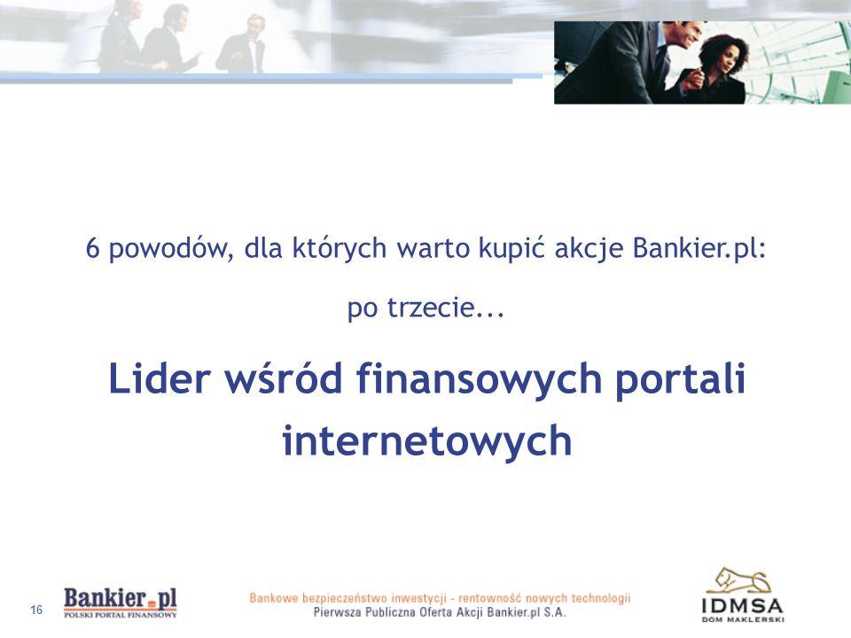 16 6 powodów, dla których warto kupić akcje Bankier.pl: po trzecie... Lider wśród finansowych portali internetowych