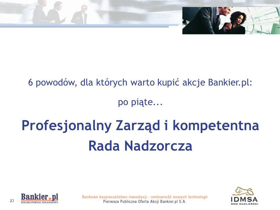 23 6 powodów, dla których warto kupić akcje Bankier.pl: po piąte... Profesjonalny Zarząd i kompetentna Rada Nadzorcza