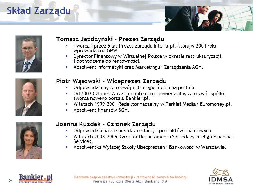 24 Skład Zarządu Tomasz Jażdżyński – Prezes Zarządu Twórca i przez 5 lat Prezes Zarządu Interia.pl, którą w 2001 roku wprowadził na GPW Dyrektor Finan