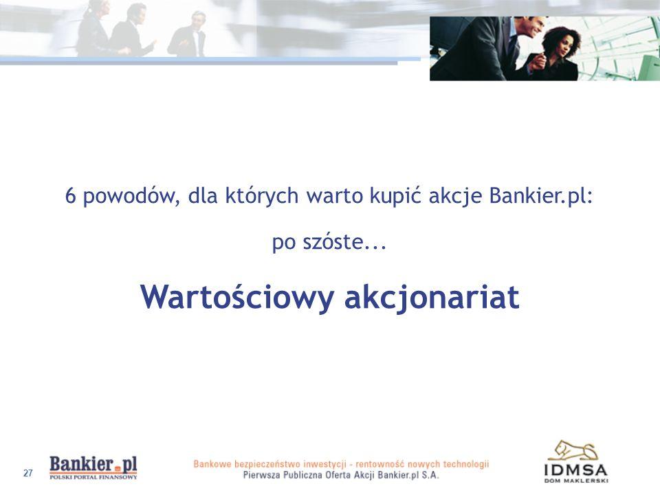 27 6 powodów, dla których warto kupić akcje Bankier.pl: po szóste... Wartościowy akcjonariat
