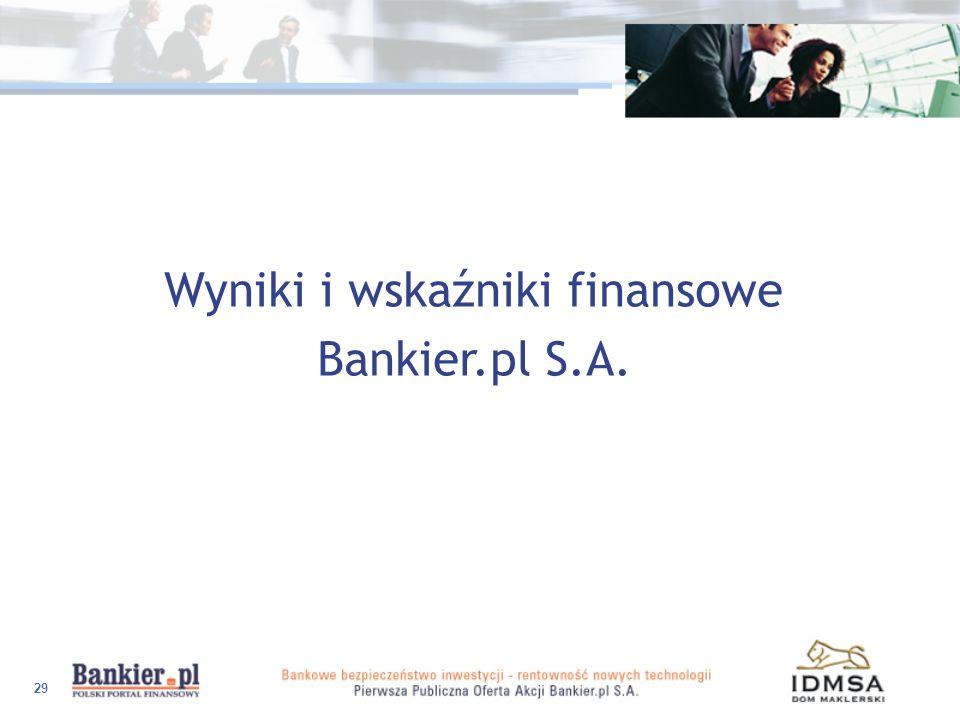 29 Wyniki i wskaźniki finansowe Bankier.pl S.A.