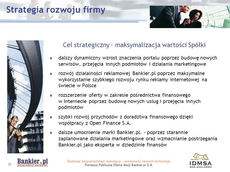 37 Strategia rozwoju firmy Cel strategiczny - maksymalizacja wartości Spółki dalszy dynamiczny wzrost znaczenia portalu poprzez budowę nowych serwisów