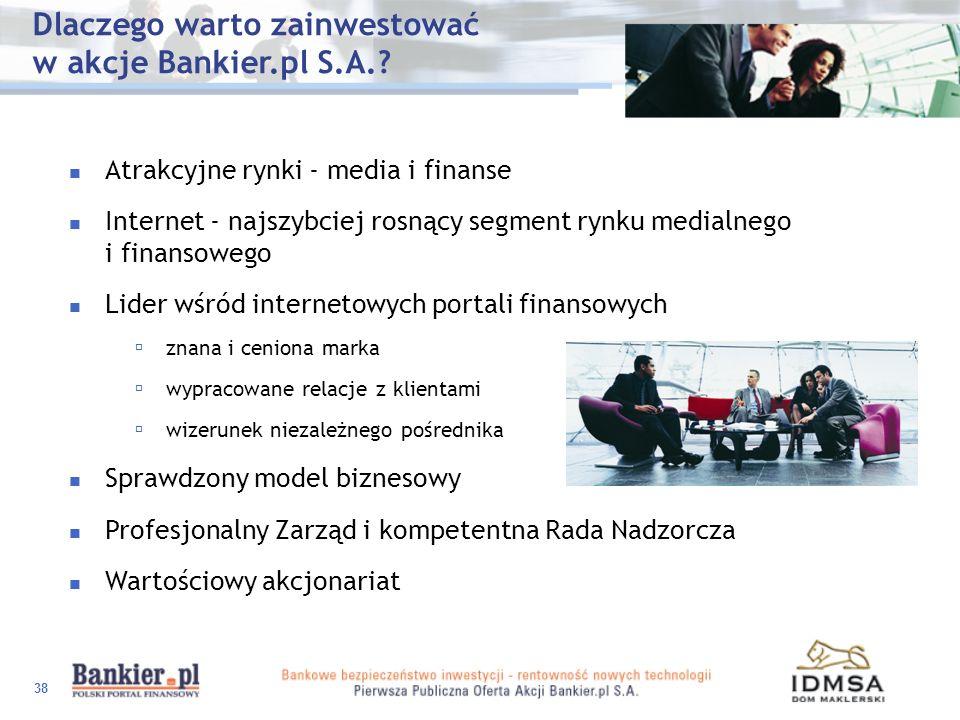 38 Atrakcyjne rynki - media i finanse Internet - najszybciej rosnący segment rynku medialnego i finansowego Lider wśród internetowych portali finansow