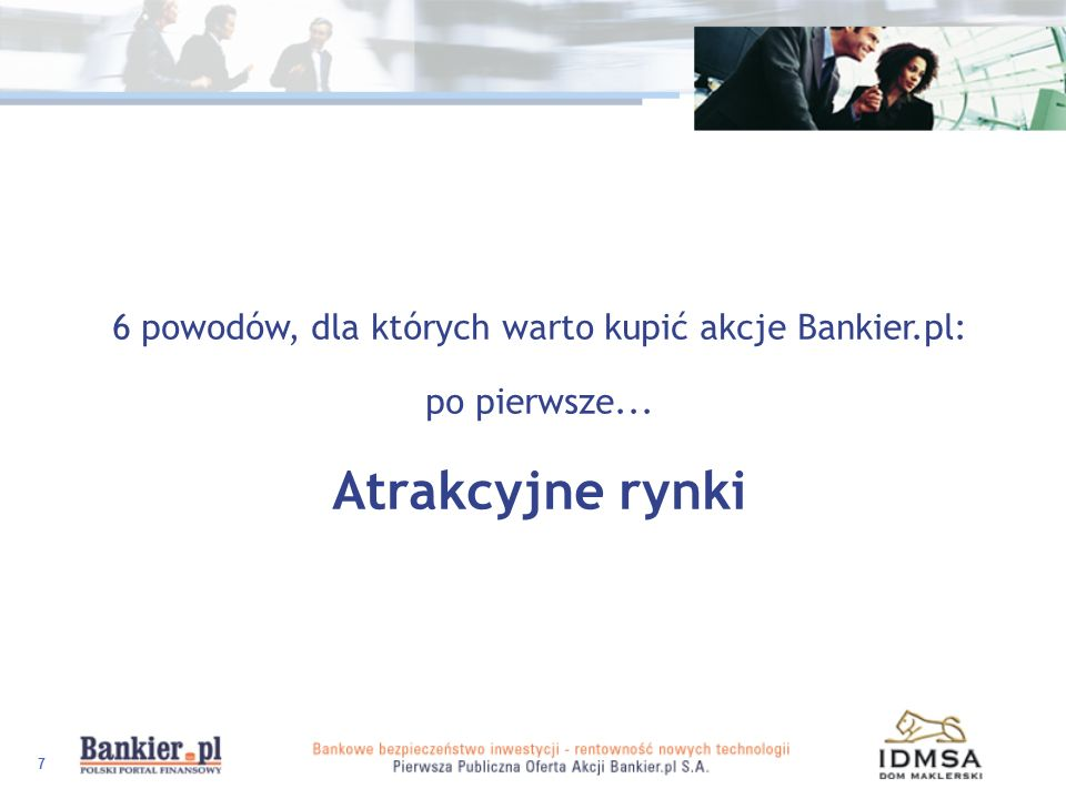 38 Atrakcyjne rynki - media i finanse Internet - najszybciej rosnący segment rynku medialnego i finansowego Lider wśród internetowych portali finansowych znana i ceniona marka wypracowane relacje z klientami wizerunek niezależnego pośrednika Sprawdzony model biznesowy Profesjonalny Zarząd i kompetentna Rada Nadzorcza Wartościowy akcjonariat Dlaczego warto zainwestować w akcje Bankier.pl S.A.?