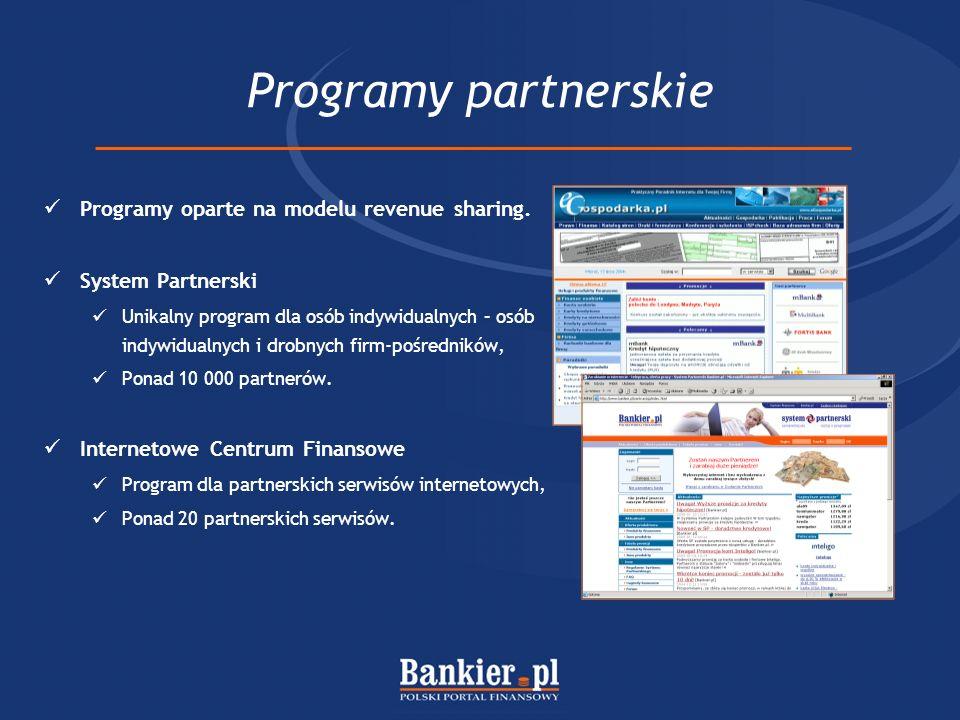 Programy partnerskie Programy oparte na modelu revenue sharing.