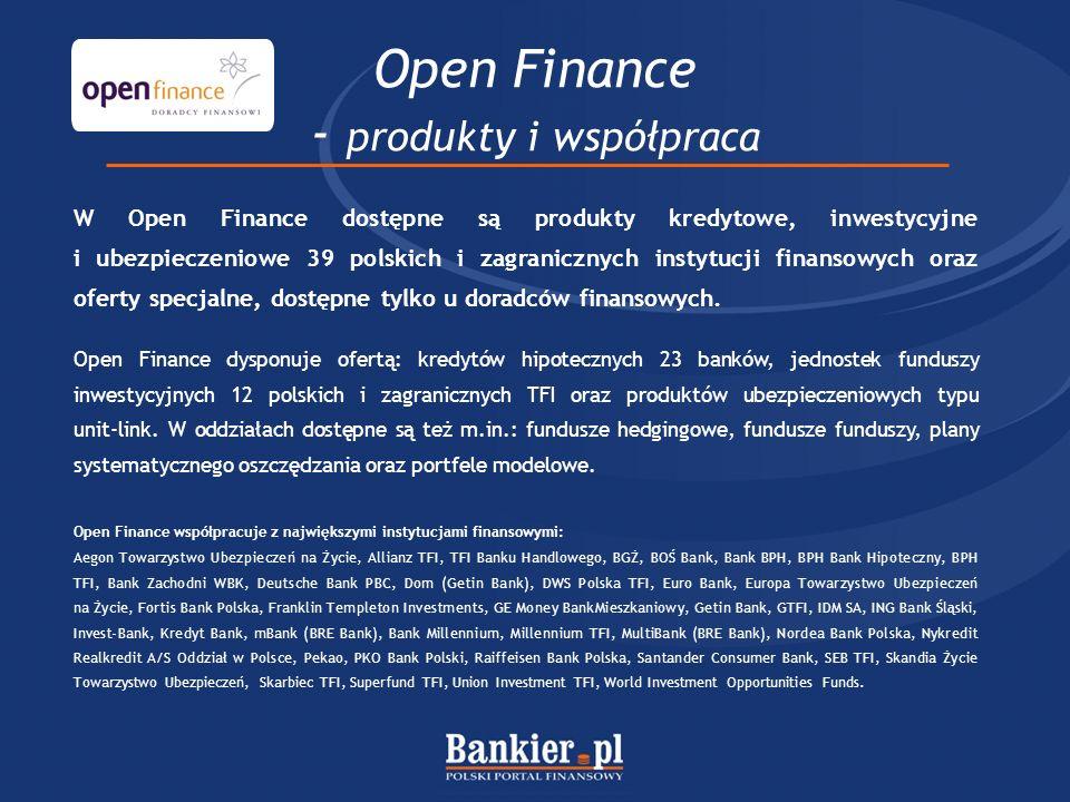 W Open Finance dostępne są produkty kredytowe, inwestycyjne i ubezpieczeniowe 39 polskich i zagranicznych instytucji finansowych oraz oferty specjalne