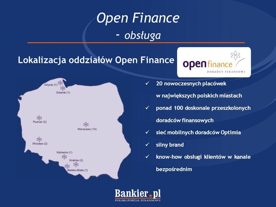 Open Finance - obsługa 20 nowoczesnych placówek w największych polskich miastach ponad 100 doskonale przeszkolonych doradców finansowych sieć mobilnych doradców Optimia silny brand know-how obsługi klientów w kanale bezpośrednim Lokalizacja oddziałów Open Finance
