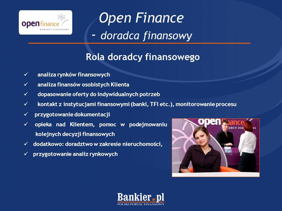 Open Finance - doradca finansowy Rola doradcy finansowego analiza rynków finansowych analiza finansów osobistych Klienta dopasowanie oferty do indywidualnych potrzeb kontakt z instytucjami finansowymi (banki, TFI etc.), monitorowanie procesu przygotowanie dokumentacji opieka nad Klientem, pomoc w podejmowaniu kolejnych decyzji finansowych dodatkowo: doradztwo w zakresie nieruchomości, przygotowanie analiz rynkowych