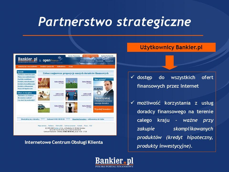 Partnerstwo strategiczne dostęp do wszystkich ofert finansowych przez Internet możliwość korzystania z usług doradcy finansowego na terenie całego kraju - ważne przy zakupie skomplikowanych produktów (kredyt hipoteczny, produkty inwestycyjne).