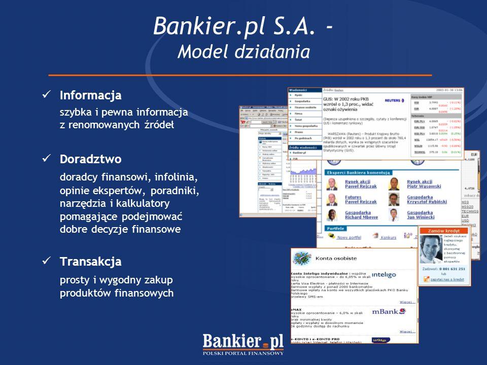 Bankier.pl S.A. - Model działania Informacja szybka i pewna informacja z renomowanych źródeł Doradztwo doradcy finansowi, infolinia, opinie ekspertów,