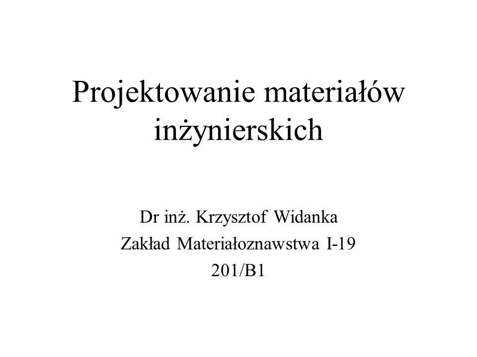 Projektowanie materiałów inżynierskich Dr inż. Krzysztof Widanka Zakład Materiałoznawstwa I-19 201/B1