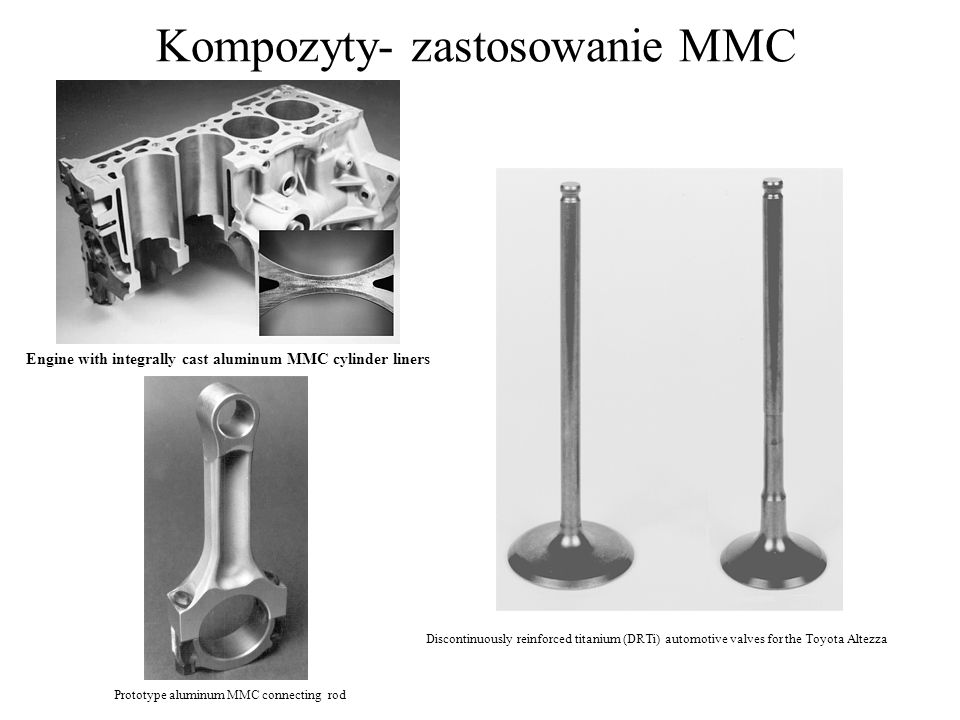Kompozyty- zastosowanie MMC Discontinuously reinforced titanium (DRTi) automotive valves for the Toyota Altezza Engine with integrally cast aluminum M
